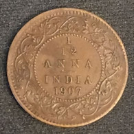 INDE - INDIA - 1/12 ANNA 1907 - Edward VII - KM 498 - India
