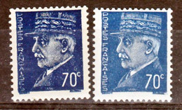 France 510 Variétés P De Postes Cassé Bleu Foncé Et Original Pétain  Neuf ** TB MnH Sin Charnela - Variedades: 1941-44 Nuevos