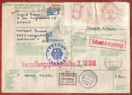 Paketkarte, Postfreistempel U.a., Estoril Ueber Lisboa Offenburg Nach Langenberg 1974 (4354) - Covers & Documents