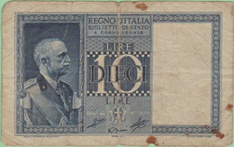 Italie - Billet De 10 Lire - Vittorio-Emmanuele III - 1938 - P25b - Italia – 10 Lire