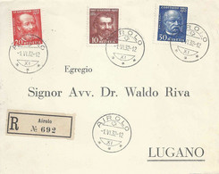 R Briefvs  Airolo - Lugano  (Gotthard Serie)        1932 - Covers & Documents