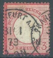 REICH - USED/OBLIT. - 1873 - 3 Kr FRANKFURT CANCELLATION SMALL EAGLE -  Mi 9 Yv 9 - Lot 23511 - Gebruikt