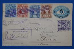 S22 GUATEMALA BELLE LETTRE RARE RECOM. 1899  POUR TEHERAN PERSIA  IRAN   + SURCHARGE + AFFRANCHISSEMENT INTERESSANT - Guatemala