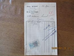 DOUAI PAUL VITRANT CHAUSSURES 52 RUE SAINT-JACQUES FACTURE DU 25 MAI 1921 TIMBRE QUITTANCES - 1900 – 1949