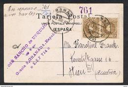 ESPANA:  1907  PAR + TIRA 3  DE  2 C. (212)  EN  LA  POSTAL  DE  GRANADA  -  PARA  AUSTRIA  -  SUPER - Cartas