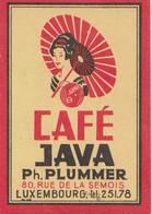 Cafés Java Plummer Luxembourg - Etiquette Allumette Matchbox Label 1960 - Matchbox Labels