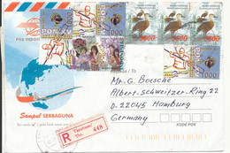 Indonesia Registered Air Mail Cover Sent To Germany 2000 ? Topic Stamps - Indonesia