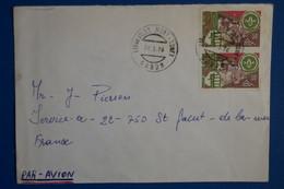 S22 GABON BELLE LETTRE 1976 PAR AVION  LIBREVILLE POUR ST JACUT FRANCE+ PAIRE DE T.P + AFFRANCHISSEMENT INTERESSANT - Gabon