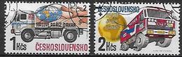 TCHECOSLOVAQUIE    -    1989 .   Y&T N° 2788 / 2789 Oblitérés.  Camions.  Rallye  Paris - Dakar. - Usados