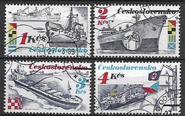 TCHECOSLOVAQUIE    -    1989 .   Y&T N° 2799 à 2802 Oblitérés.  Bateaux De Commerce. - Usados
