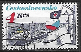 """TCHECOSLOVAQUIE    -    1989 .   Y&T N° 2802 Oblitéré.   Bateau  De Commerce  """"Orlik """". - Usados"""