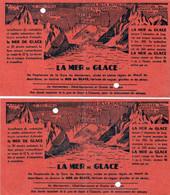 LA MER De GLACE - Chemin De Fer De CHAMONIX Au MONTENVERS - 2 Tickets Pour MONTEE & DESCENTE - Unclassified