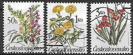 TCHECOSLOVAQUIE   -   1990 .  Y&T N° 2839 à 2841 Oblitérés.   Fleurs Des Jardins. - Usados