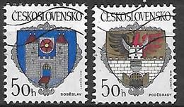 TCHECOSLOVAQUIE   -   1990 .  Y&T N° 2845 / 2846 Oblitérés.   Armoiries De Villes. - Usados