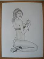 DESSIN ORIGINAL   24 X 32 Cm  NU FEMME SEXY  EROTIQUE   EROTIC   PIN UP - Dibujos