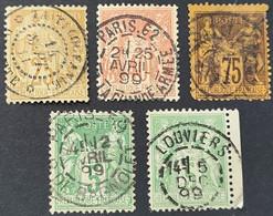 Sage N° 92/94/99/106x2  Avec Oblitération Cachet à Date Centrale D'Epoque  TB - 1876-1898 Sage (Type II)