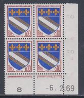 France N° 1353 XX : Armoiries De Troyes En Bloc De 4 Coin Daté Du 6 . 2 . 69 : 3 Points Blancs Sans Charnière, TB - 1960-1969