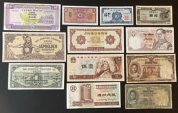 12 X Banknotes From China, Japan, Korea, Thailand - Chine
