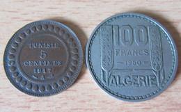 Tunisie + Algérie - 2 Monnaies : 5 Centimes 1917 Et 100 Francs 1950 - Túnez