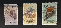 (stamp 7-5-2021) Kenya - 3 Used Stamps (Seashells) - Kenya (1963-...)