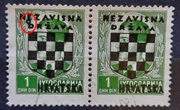 COAT OF ARMS-1 K -PAIR-KING PETER II-OVERPRINT NDH-ERROR CIRCLE-RARE-CROATIA-1941 - Croazia