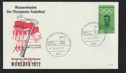 Germany Cover 1972 Olympic Games In München - Torch Relay Rosenheim  (G130-12) - Summer 1972: Munich