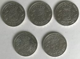 Very Nice Set Of 5 SILVER Coins - Leopold II - 1869 - 1870 - 1873 - 5F - + 1F 1867 Cleaned - Very Good State - 09. 5 Francos