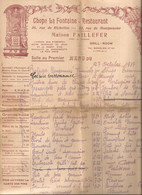 Restaurant-chope La Fontaine-menu-27-10-1937- - Menus