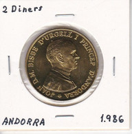 MONEDA DE ANDORRA DE 2 DINERS DEL AÑO 1986 JOAN D.M. BISME - Andorra