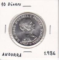 MONEDA DE PLATA DE ANDORRA DE 10 DINERS DEL AÑO 1986 JOAN D.M. BISME - Andorra