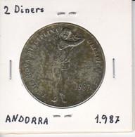 MONEDA  DE ANDORRA DE 2 DINERS DEL AÑO 1987 - TENIS - Andorra