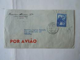 PORTUGAL LISBOA  COVER  1953 TO ITALIA TORINO POR AVIAO 3,5 - Covers & Documents