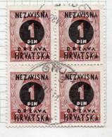 37CRT854 - CROAZIA 1941 ,  N. 24 Quartina Usata. - Kroatien