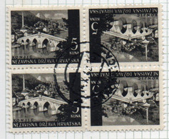 37CRT856 - CROAZIA 1941 , Unificato N. 38 Usata. 2 Coppie Se Tenant (CRT) - Kroatien