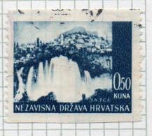 37CRT858 - CROAZIA 1941 , Unificato N. 33  Usato : Non Dentellato Orizzontalmente (CRT) - Kroatien