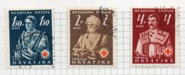 37CRT862 - CROAZIA 1941 , Unificato N. 46/48  Usato. Croce Rossa - Kroatien
