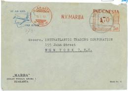 93673 -  Indonesia - POSTAL HISTORY - RED Mechanical Postmark On COVER  1951 - Indonésie