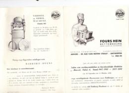 Dépliant Publicitaire  3 Volets- Fours à Pain,  Pétrin,... HEIN   - Boulangerie,... BETTEMBOURG - ANVERS/ANTWERPEN 1950 - Pubblicitari