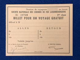 Luxembourg - Billet Pour Un Voyage Gratuit - Société Nationale Des Chemins De Fer Luxembourgeois - Europe