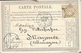 1876- C P Précurseur  Affr. N°55 Oblit. étoile 4  De PARIS / R. D'ENGHIEN  Pour L'Allemagne - 1849-1876: Classic Period