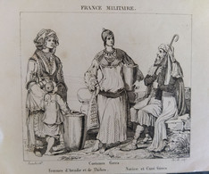 GRAVURE ENGRAVING. COSTUMES DE ARCADIE, ARCADIA, THEBES, CURE. GRECE GREECE. FRANCE MILITAIRE 1838 - Estampes & Gravures
