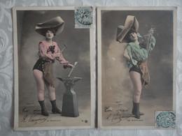 """Lot De 2 CPA Fantaisie 1904 - Femme """"forgeron"""" - Enclume, Marteau - Walery Paris - De Morlaix - - Women"""