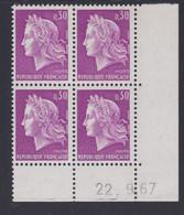 France N° 1536 XX Marianne De Cheffer : 30 C. Lilas En Bloc De 4 Coin Daté Du  22 . 9 . 67, Sans Trait, Ss Charnière, TB - 1960-1969