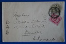 S23 JAPON BELLE LETTRE RARE 1902 VOYAGEE HIROSHIMA A BRUXELLES BELGIQUE + AFFRANCHISSEMENT INTERESSANT - Brieven En Documenten