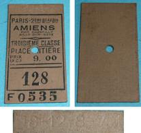 Rare Ancien Ticket De Transport Paris-Amiens Par Chantilly Ailly-sur-Noye, 3e Classe 9 Francs, Train, Début XXe - Europe