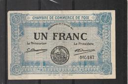Chambre Commerce FOIX  - Billet Un Franc - 2/2/1915 - 005187 - Filigrane Abeilles - Chambre De Commerce