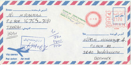 Iran Registered Air Mail Cover With Meter Cancel Sent To Denmark 21-11-1996 - Iran