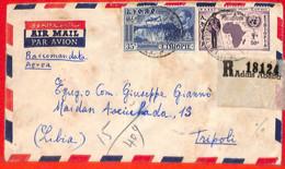 Aa0180 - ETHIOPIA - POSTAL HISTORY - REGISTERED COVER To LIBYA  1959 Waterfall MAPS - Ethiopia
