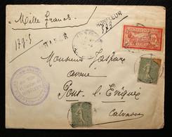14 - Calvados Lettre Chargée D'Honfleur Pour Pont L'Evêque 1918.Pas Courant - 1921-1960: Modern Period