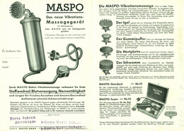 "Frankfurt 1956 A5 Deko 2-s Reklame-Prospekt "" MASPO GmbH Massagegeräte Vibrationsmassage "" - Advertising"